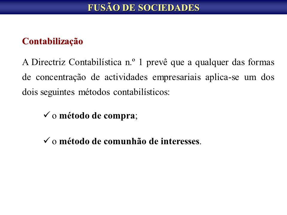 FUSÃO DE SOCIEDADES Contabilização.