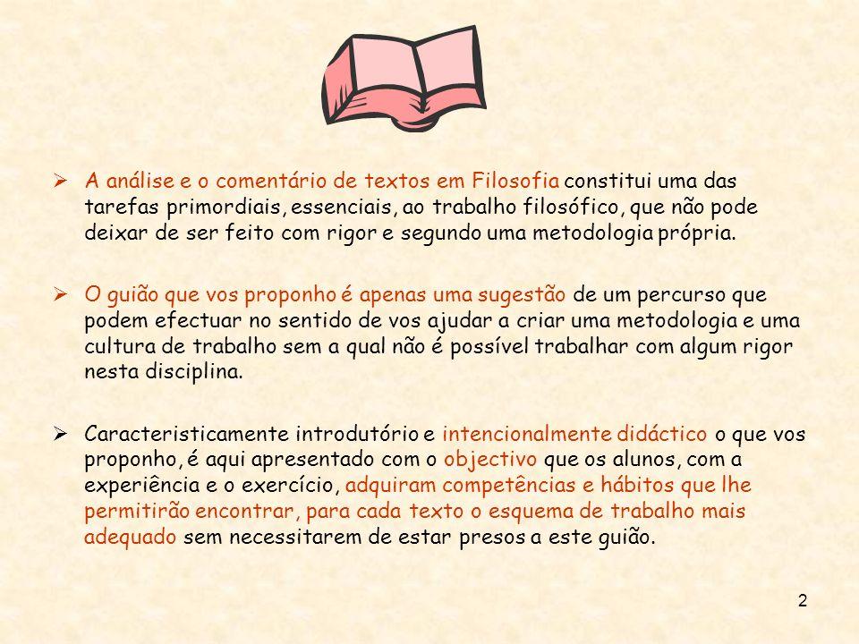 A análise e o comentário de textos em Filosofia constitui uma das tarefas primordiais, essenciais, ao trabalho filosófico, que não pode deixar de ser feito com rigor e segundo uma metodologia própria.
