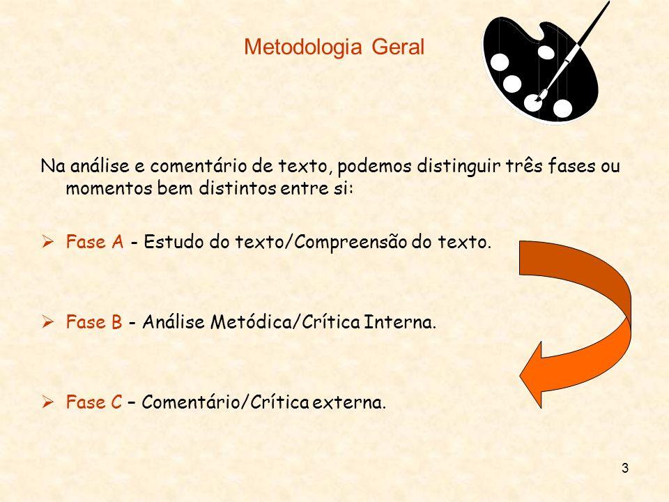 Metodologia GeralNa análise e comentário de texto, podemos distinguir três fases ou momentos bem distintos entre si: