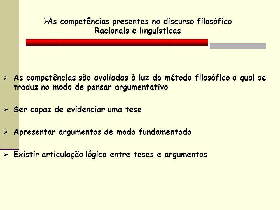 As competências presentes no discurso filosófico Racionais e linguísticas