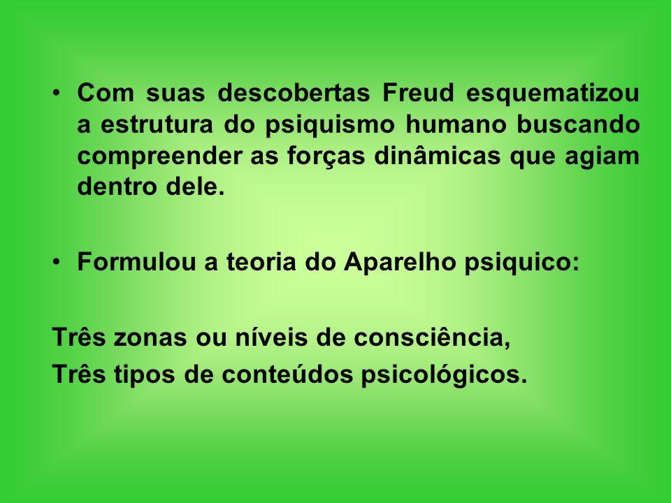 Com suas descobertas Freud esquematizou a estrutura do psiquismo humano buscando compreender as forças dinâmicas que agiam dentro dele.