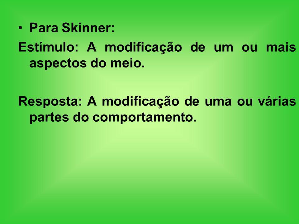 Para Skinner: Estímulo: A modificação de um ou mais aspectos do meio.