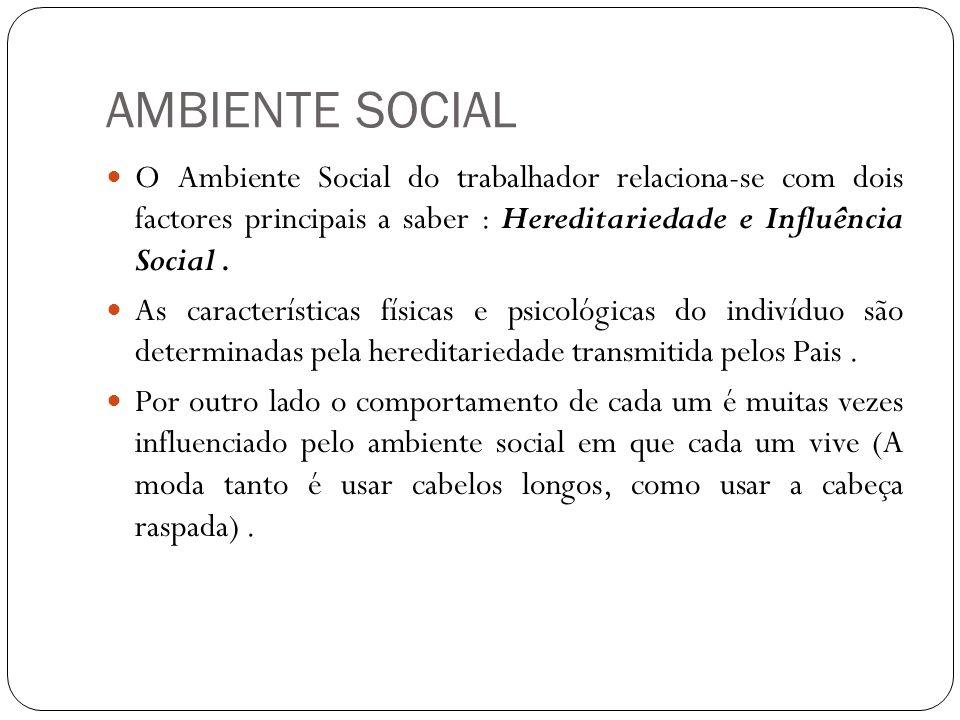 AMBIENTE SOCIAL O Ambiente Social do trabalhador relaciona-se com dois factores principais a saber : Hereditariedade e Influência Social .
