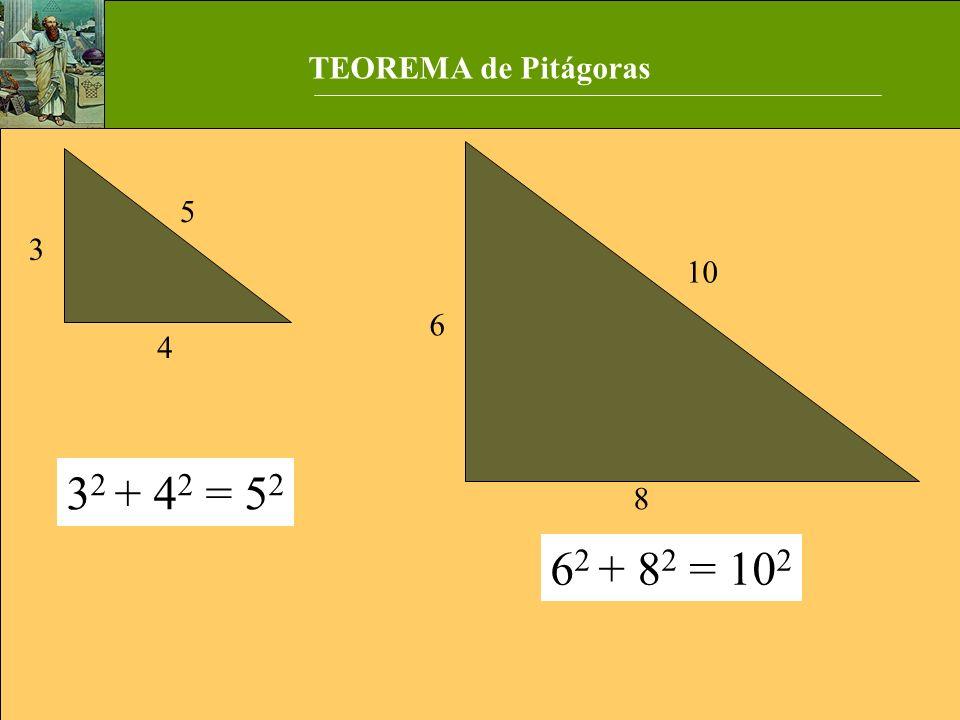 TEOREMA de Pitágoras 8 6 10 3 5 4 32 + 42 = 52 62 + 82 = 102