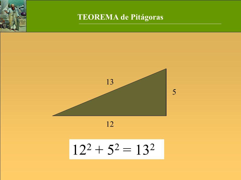 TEOREMA de Pitágoras 5 12 13 122 + 52 = 132