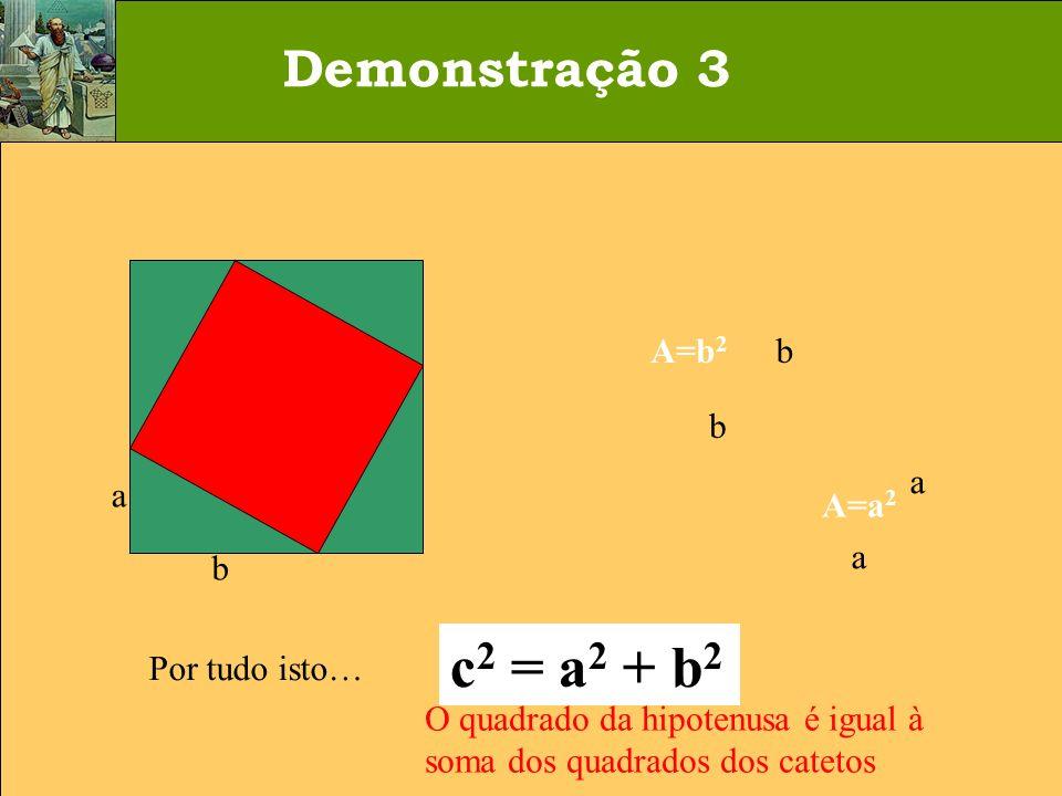 c2 = a2 + b2 Demonstração 3 A= c2 A=b2 a b a b c A=a2 Por tudo isto…