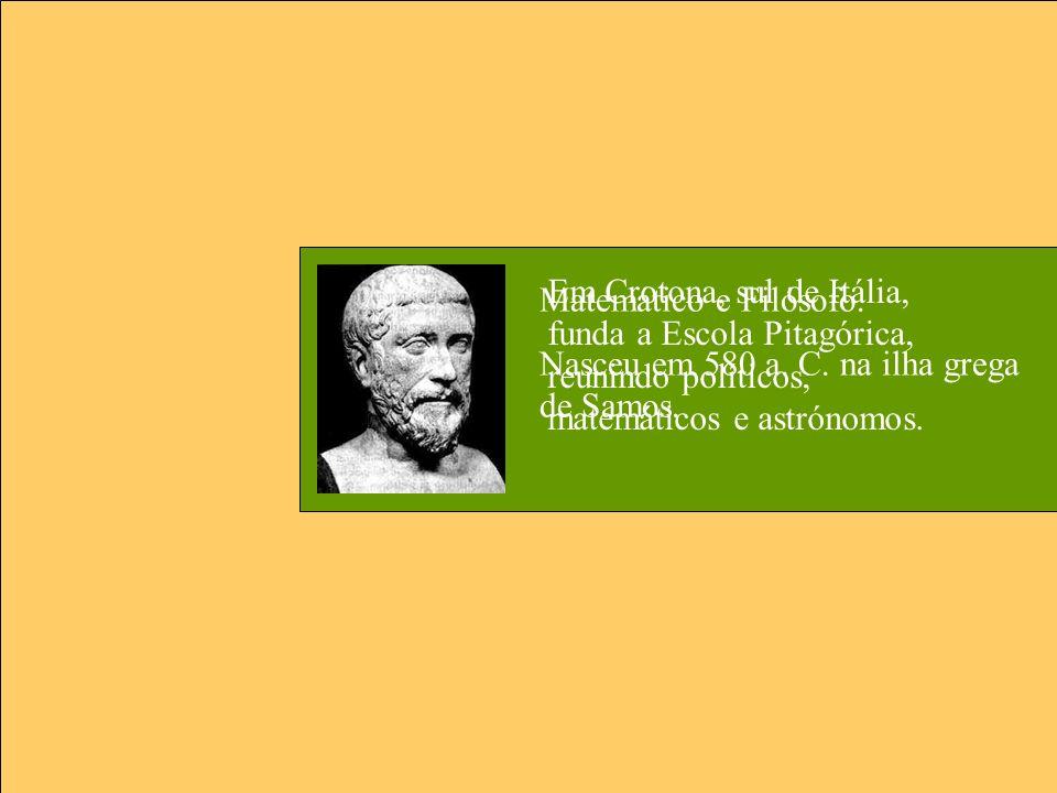 Em Crotona, sul de Itália, funda a Escola Pitagórica, reunindo políticos, matemáticos e astrónomos.