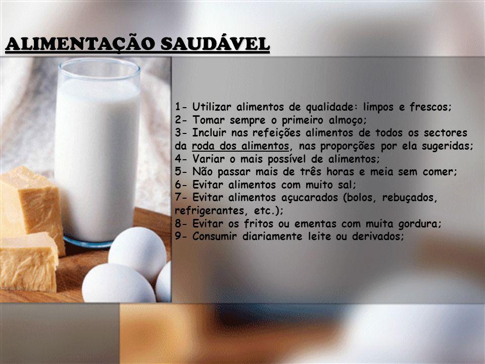 ALIMENTAÇÃO SAUDÁVEL 1- Utilizar alimentos de qualidade: limpos e frescos; 2- Tomar sempre o primeiro almoço;