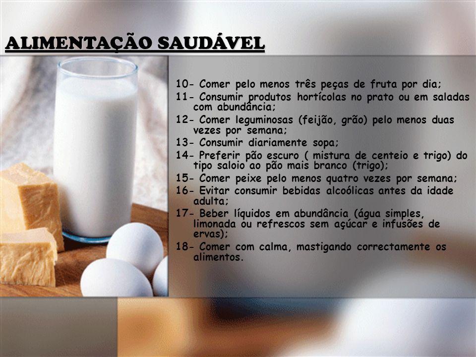 ALIMENTAÇÃO SAUDÁVEL 10- Comer pelo menos três peças de fruta por dia;