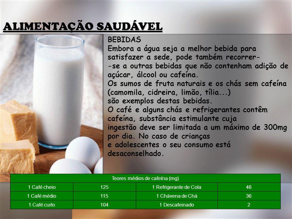 Teores médios de cafeína (mg)