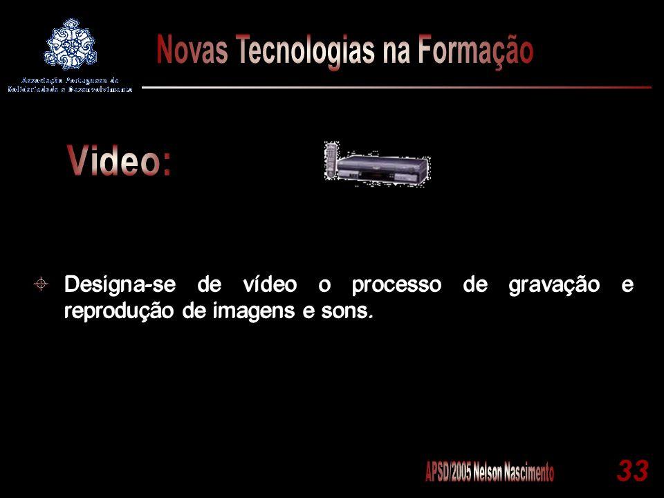 Designa-se de vídeo o processo de gravação e reprodução de imagens e sons.