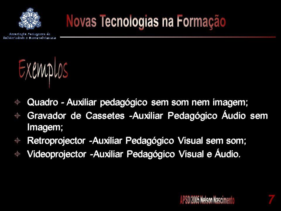 Exemplos Quadro - Auxiliar pedagógico sem som nem imagem;