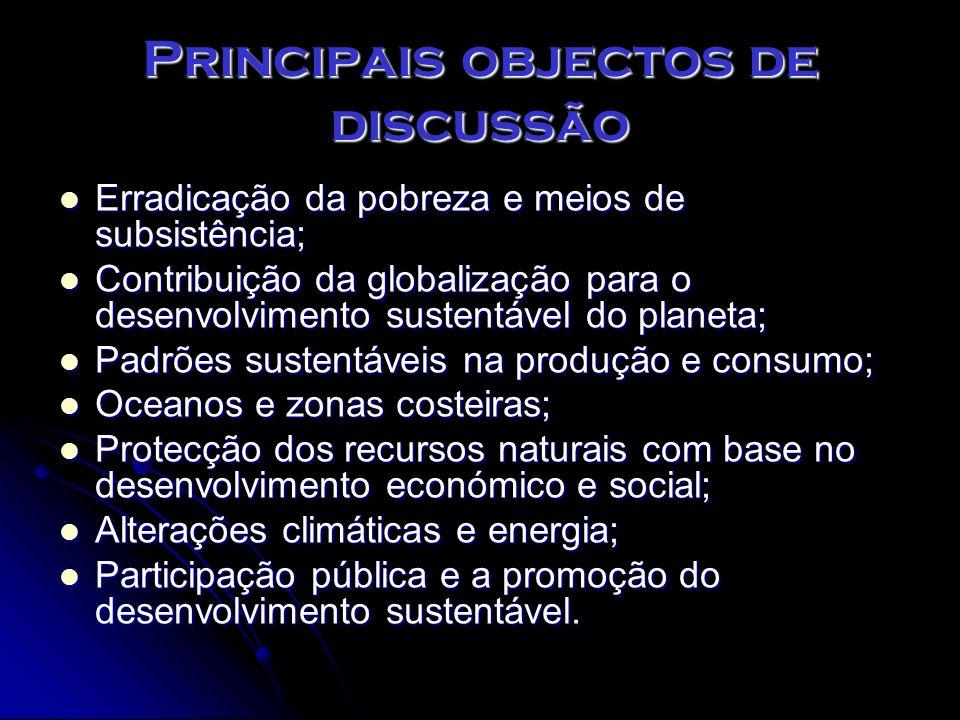 Principais objectos de discussão