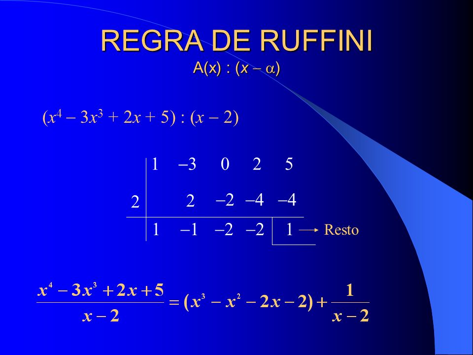 REGRA DE RUFFINI A(x) : (x  )