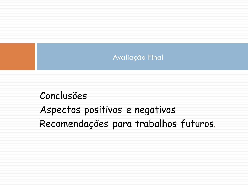 Aspectos positivos e negativos Recomendações para trabalhos futuros.