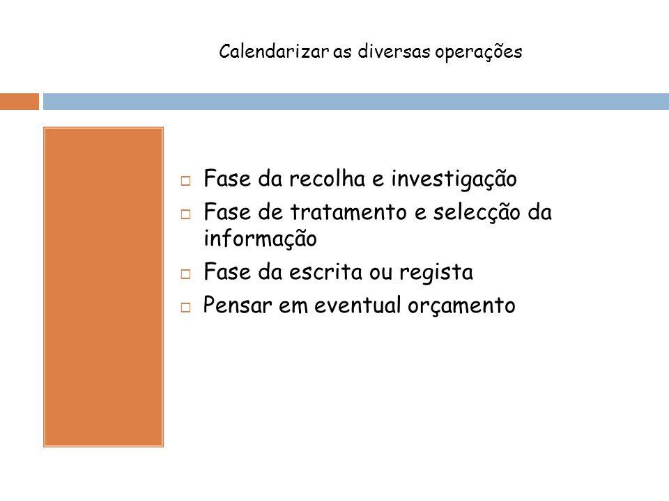 Calendarizar as diversas operações