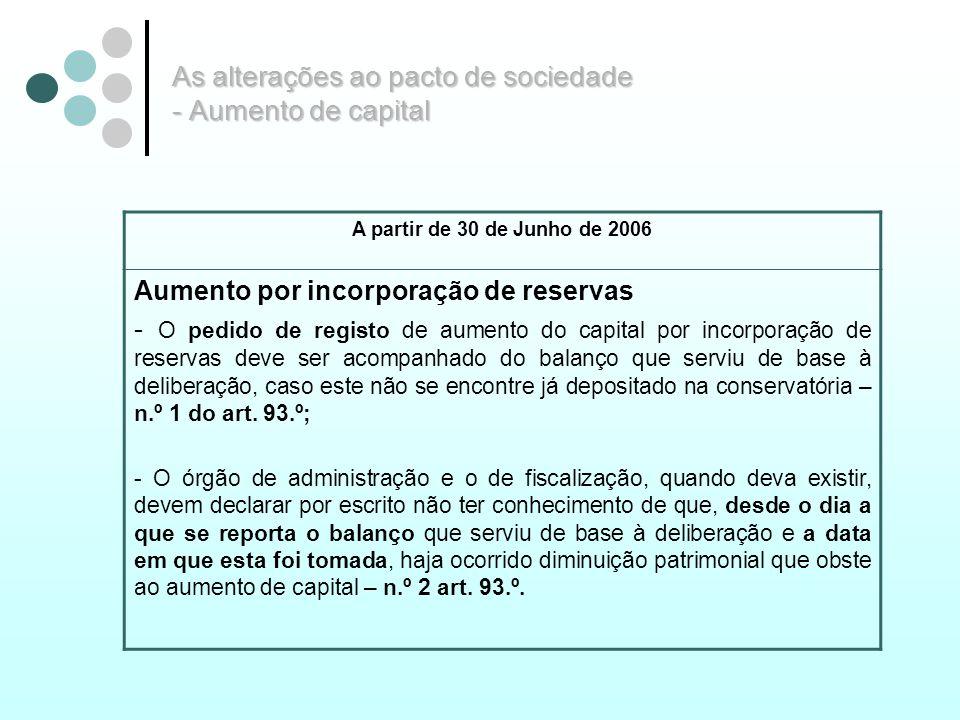 As alterações ao pacto de sociedade - Aumento de capital