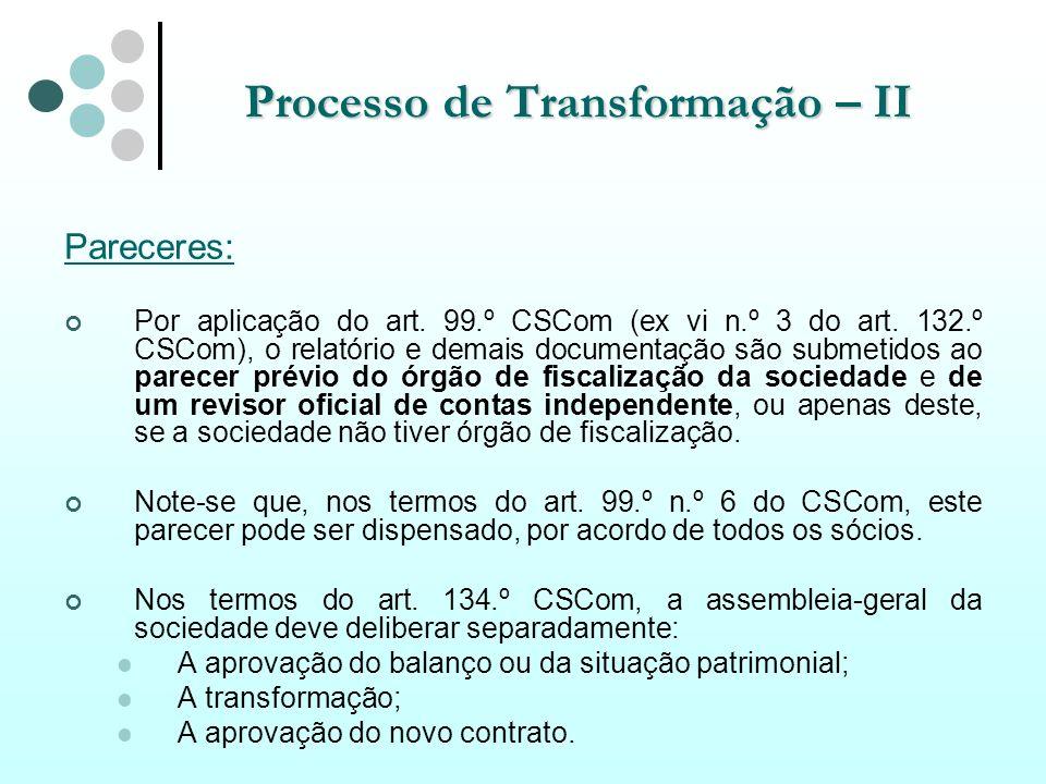 Processo de Transformação – II