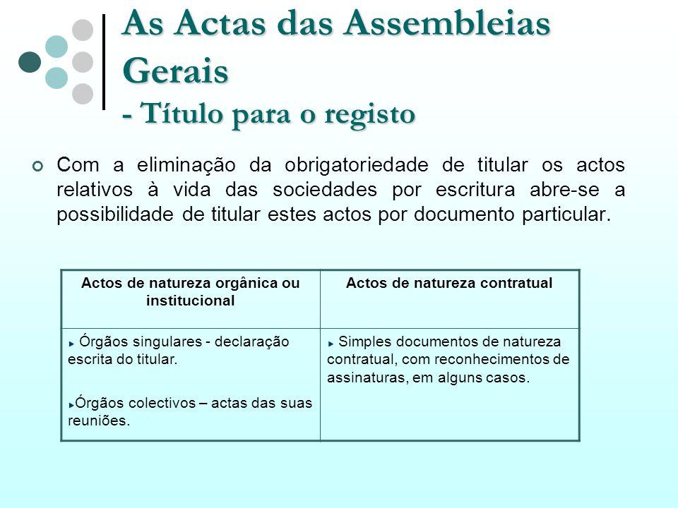 As Actas das Assembleias Gerais - Título para o registo