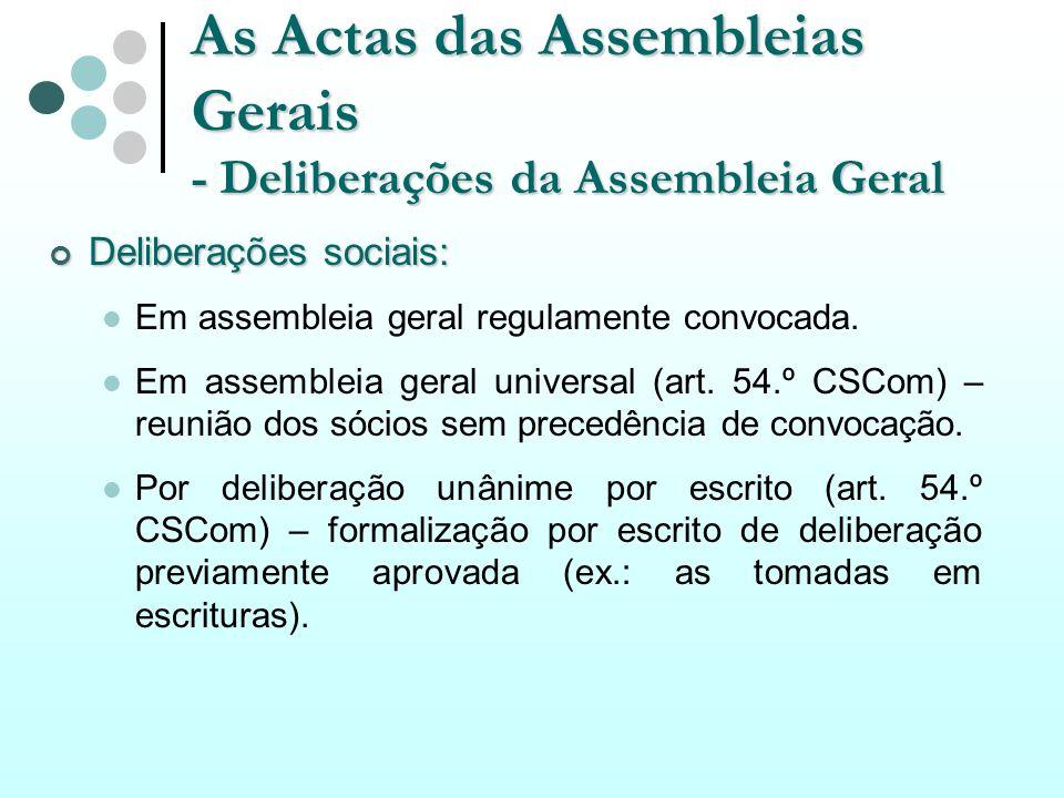 As Actas das Assembleias Gerais - Deliberações da Assembleia Geral