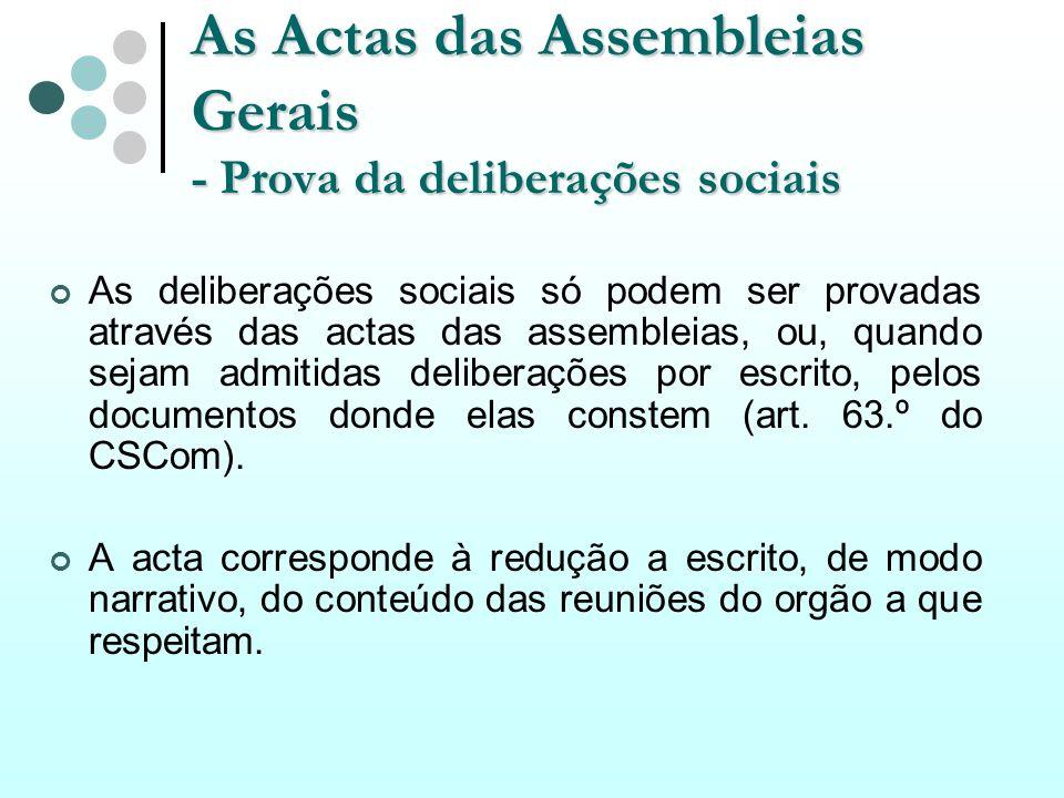 As Actas das Assembleias Gerais - Prova da deliberações sociais