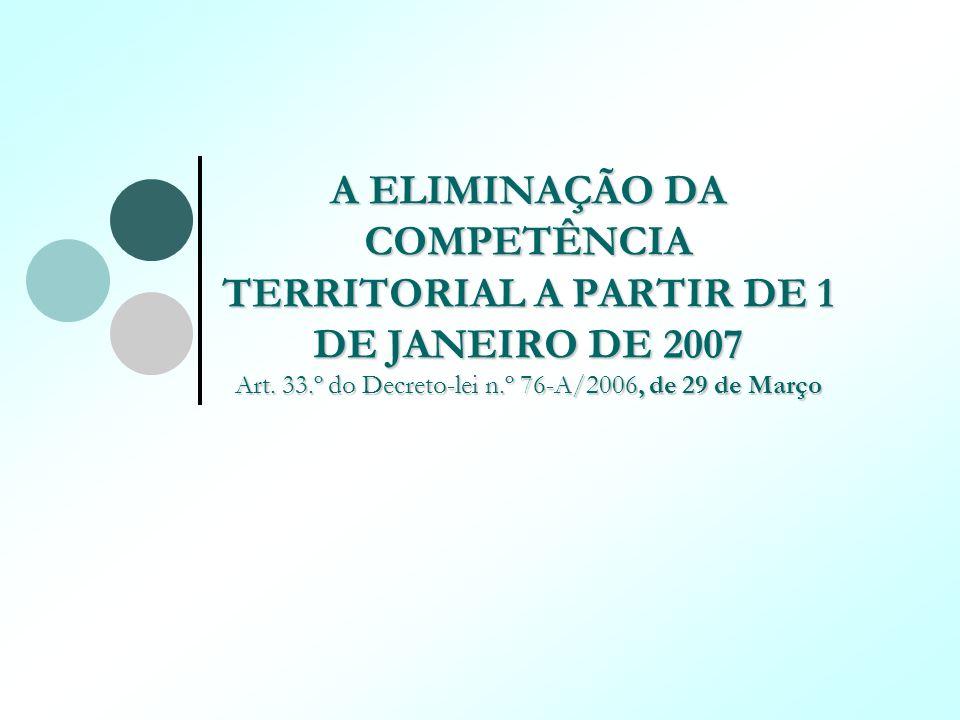 A ELIMINAÇÃO DA COMPETÊNCIA TERRITORIAL A PARTIR DE 1 DE JANEIRO DE 2007 Art.
