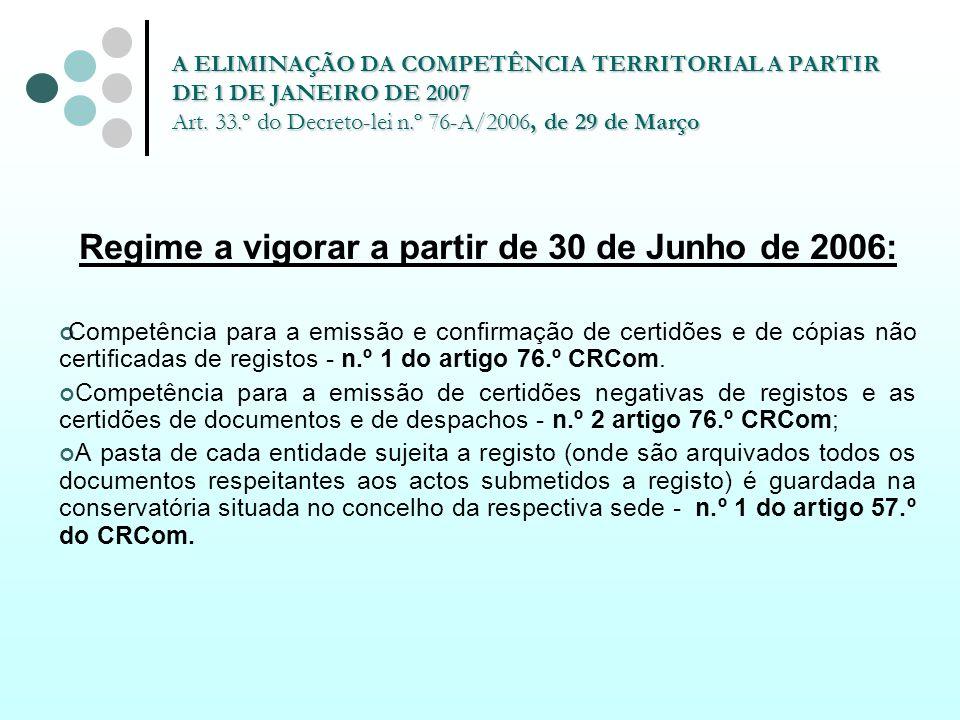 Regime a vigorar a partir de 30 de Junho de 2006: