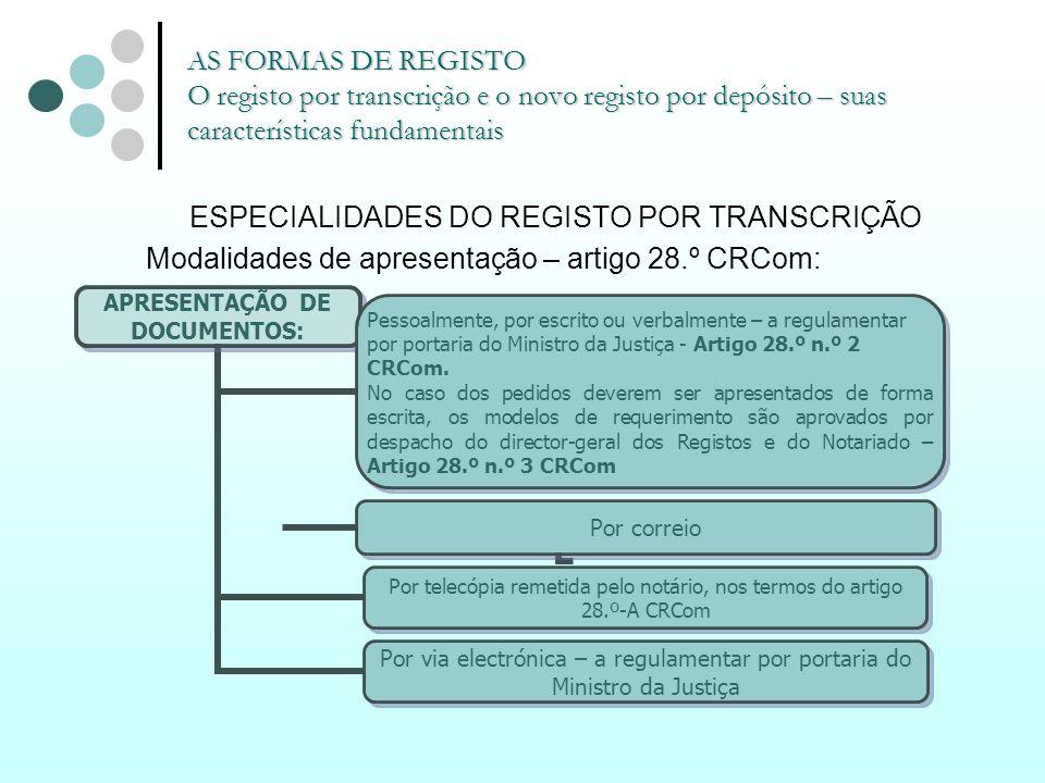 ESPECIALIDADES DO REGISTO POR TRANSCRIÇÃO