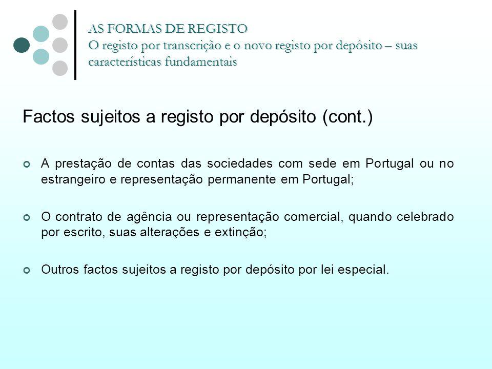 Factos sujeitos a registo por depósito (cont.)
