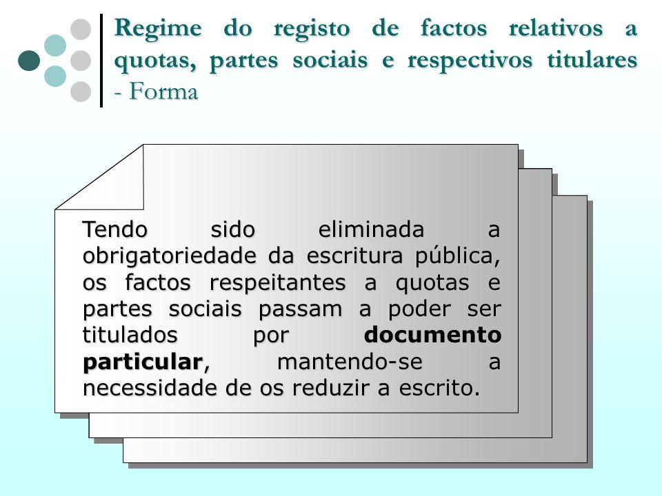 Regime do registo de factos relativos a quotas, partes sociais e respectivos titulares - Forma