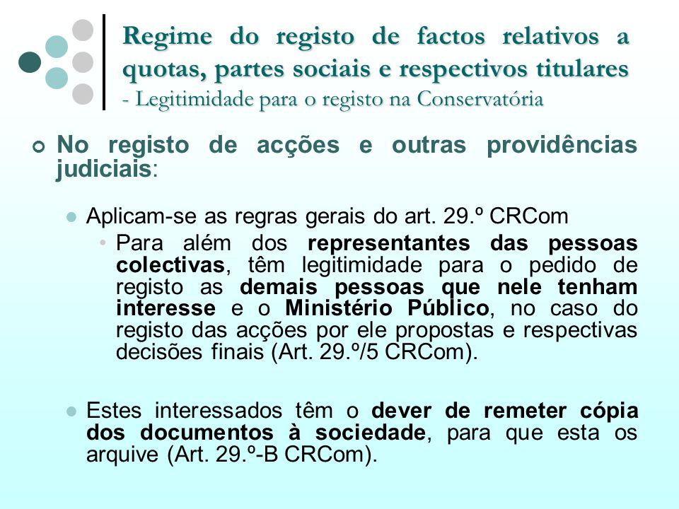 Regime do registo de factos relativos a quotas, partes sociais e respectivos titulares - Legitimidade para o registo na Conservatória