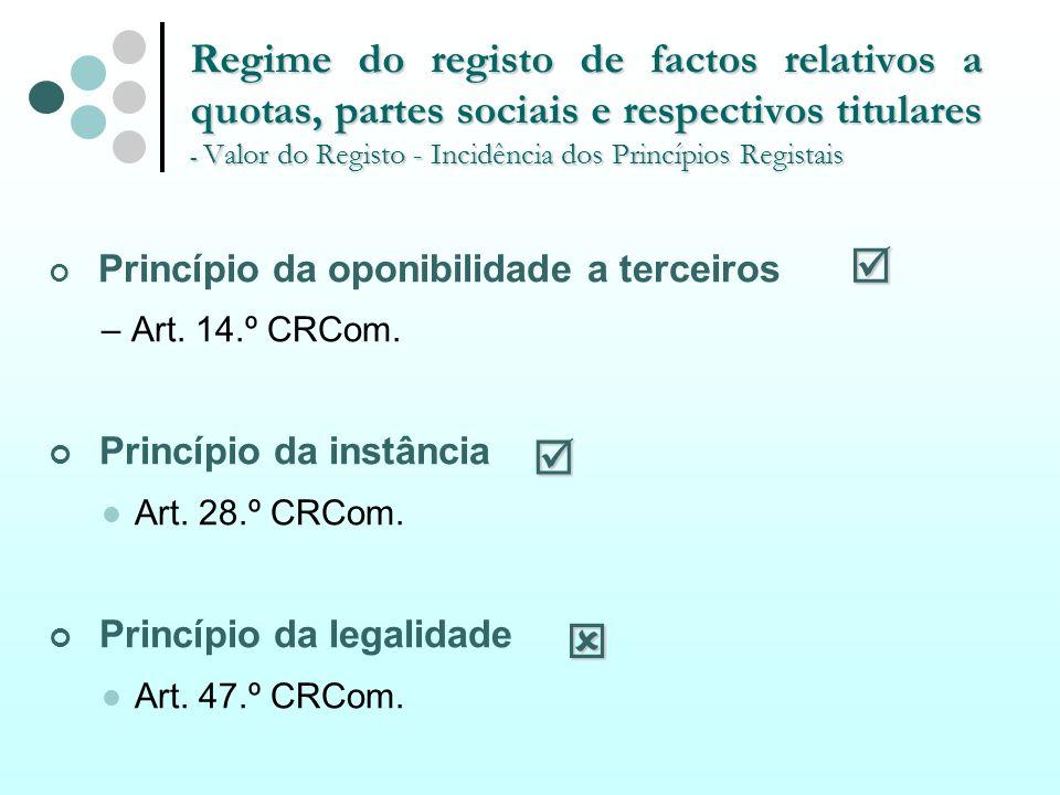 Regime do registo de factos relativos a quotas, partes sociais e respectivos titulares - Valor do Registo - Incidência dos Princípios Registais