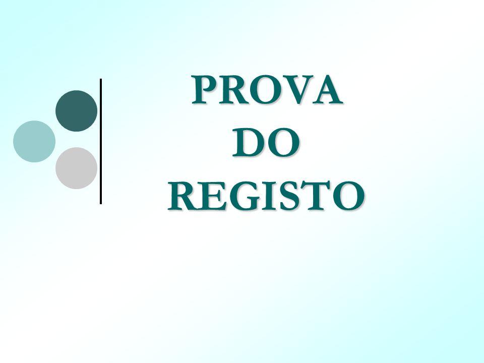 PROVA DO REGISTO