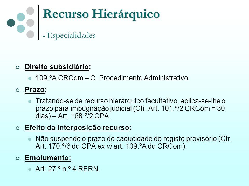 Recurso Hierárquico - Especialidades