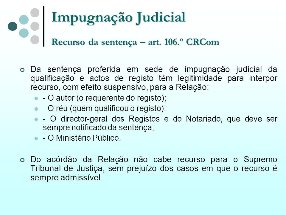 Impugnação Judicial Recurso da sentença – art. 106.º CRCom