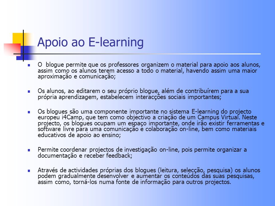 Apoio ao E-learning