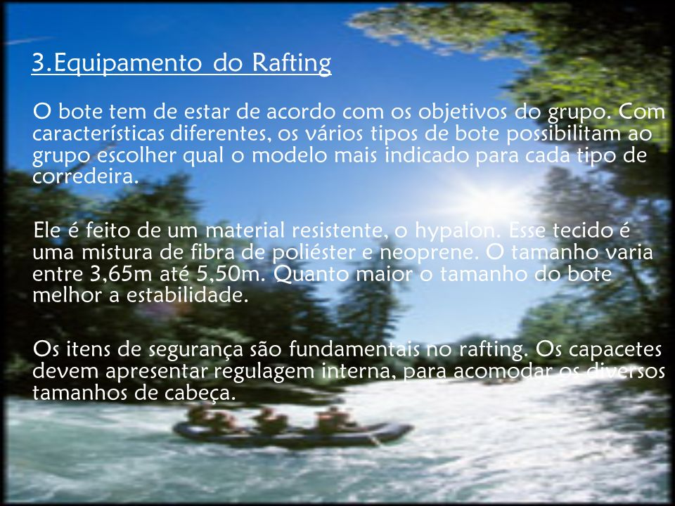 3.Equipamento do Rafting
