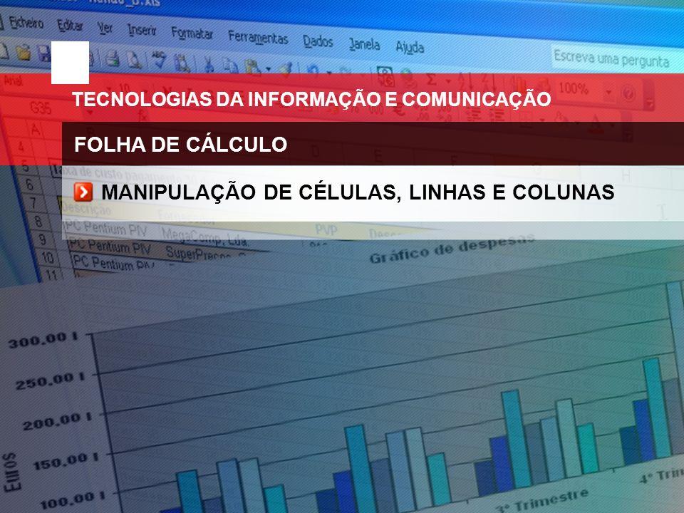 MANIPULAÇÃO DE CÉLULAS, LINHAS E COLUNAS