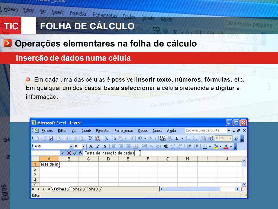 Operações elementares na folha de cálculo
