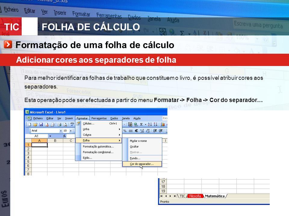 Formatação de uma folha de cálculo