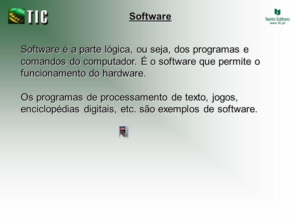 Software Software é a parte lógica, ou seja, dos programas e comandos do computador. É o software que permite o funcionamento do hardware.