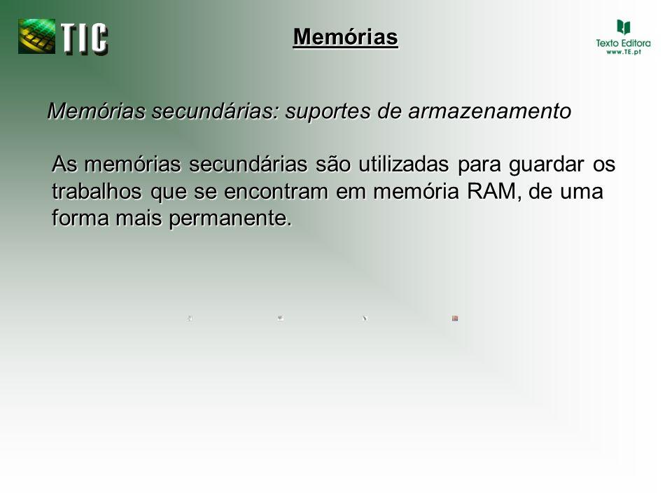 Memórias Memórias secundárias: suportes de armazenamento.
