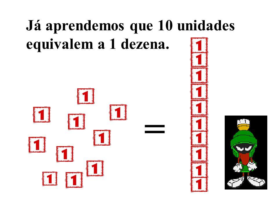 Já aprendemos que 10 unidades equivalem a 1 dezena.