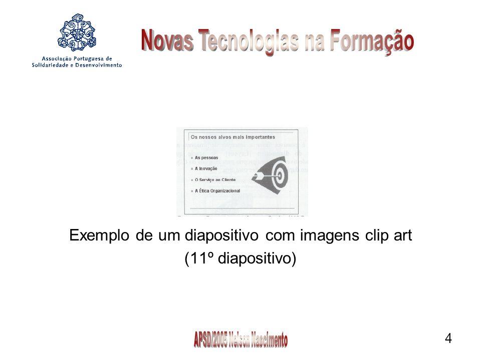 Exemplo de um diapositivo com imagens clip art