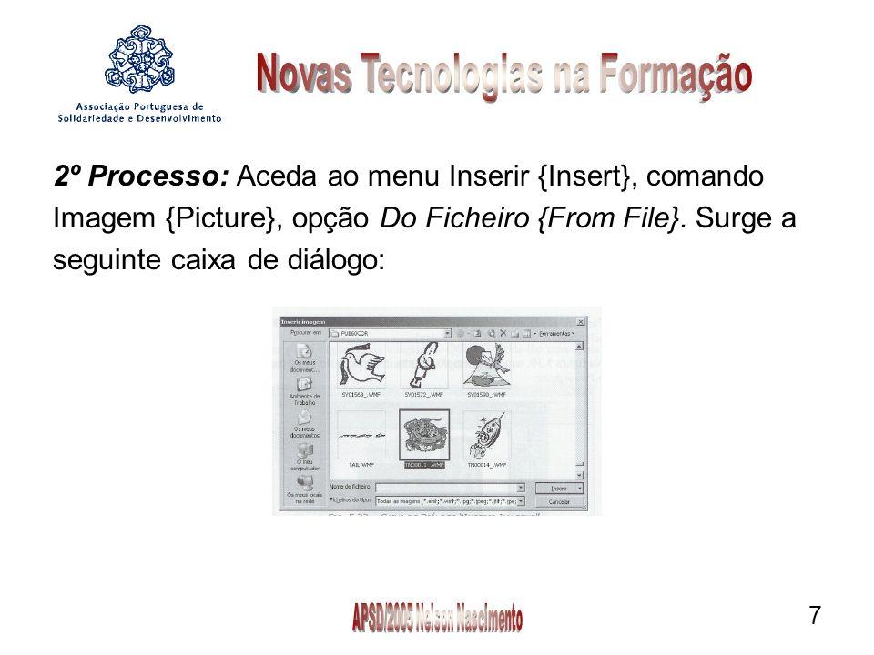 2º Processo: Aceda ao menu Inserir {Insert}, comando