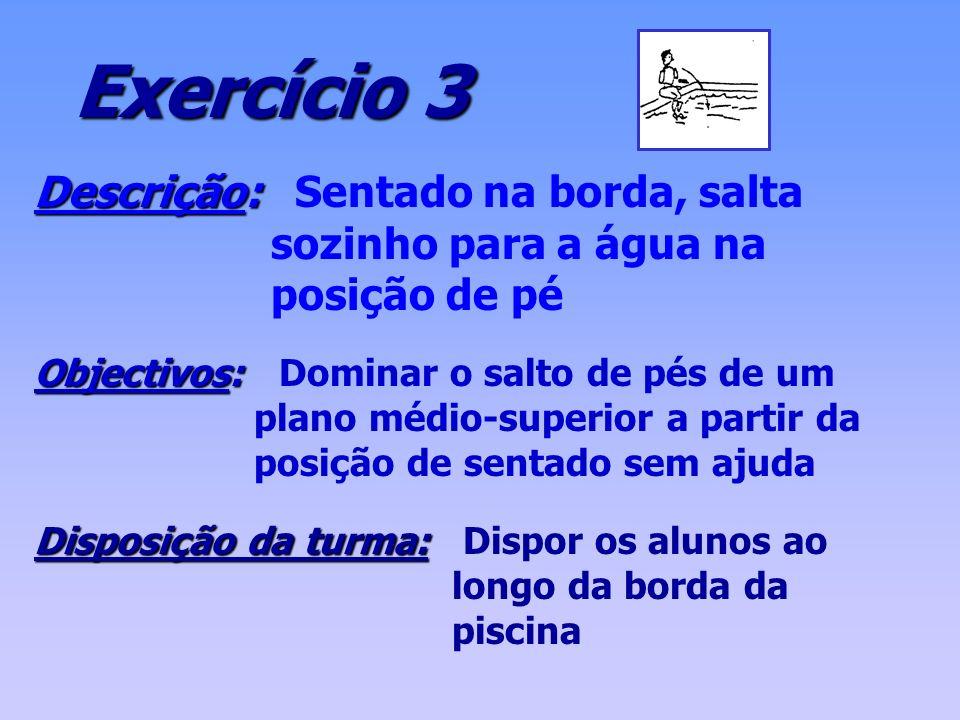 Exercício 3 Descrição: Sentado na borda, salta sozinho para a água na posição de pé.