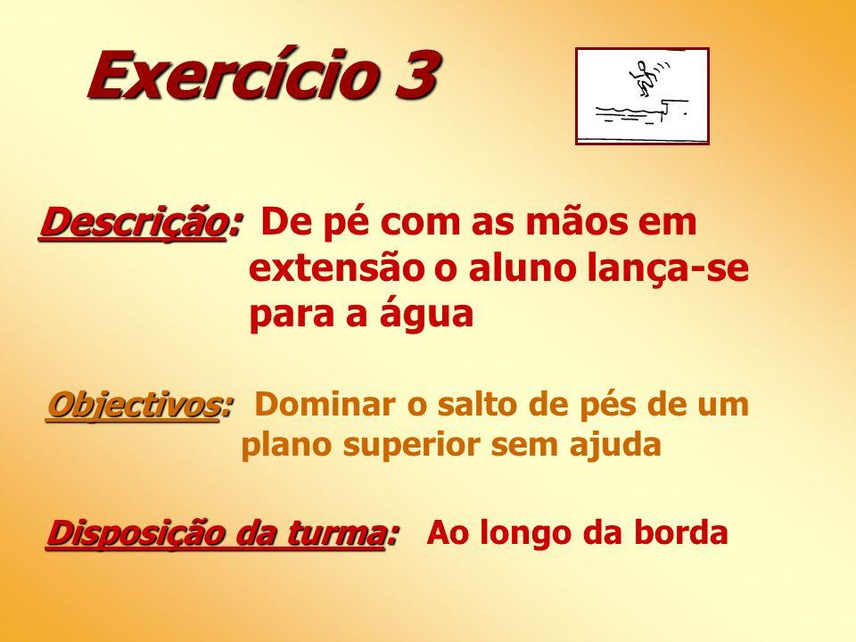 Exercício 3 Descrição: De pé com as mãos em extensão o aluno lança-se