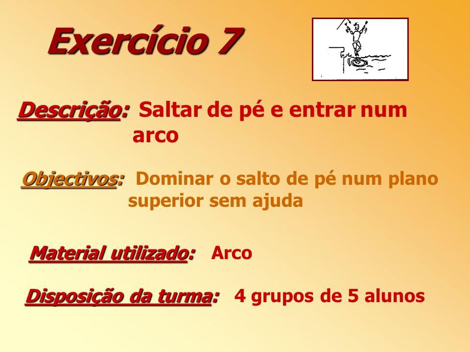 Exercício 7 Descrição: Saltar de pé e entrar num arco