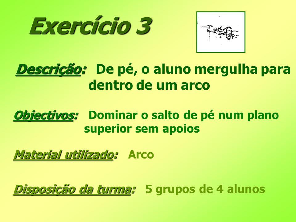 Exercício 3 Descrição: De pé, o aluno mergulha para dentro de um arco