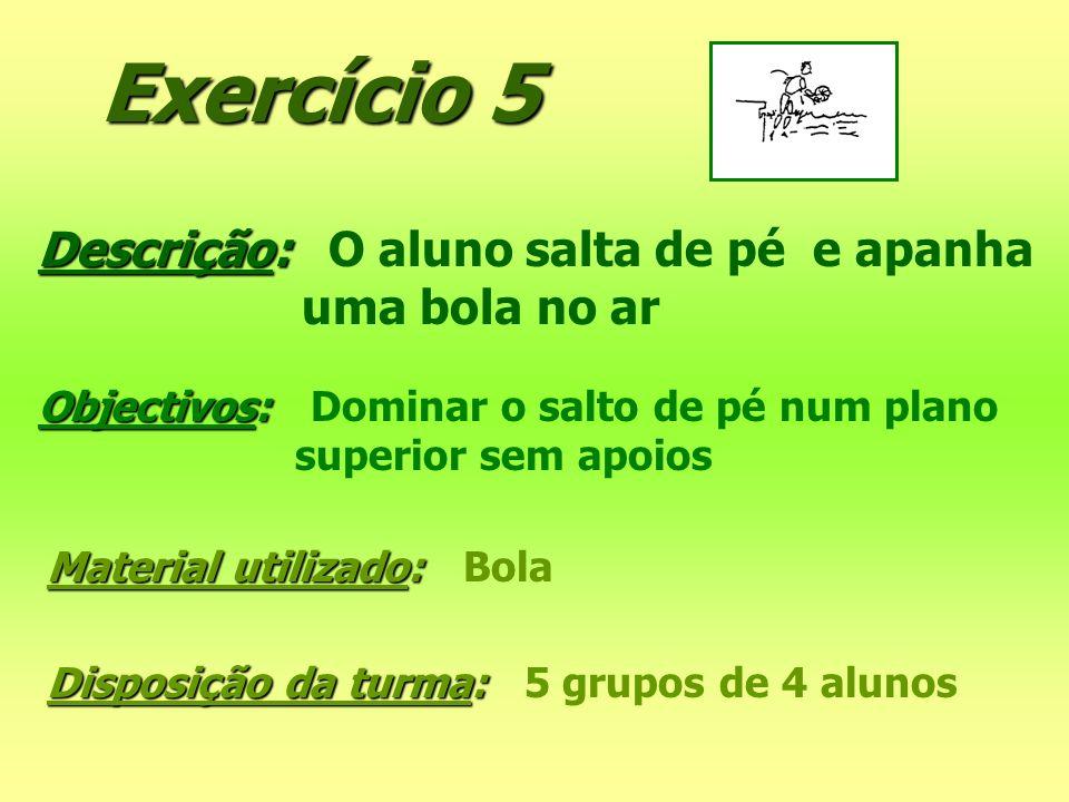 Exercício 5 Descrição: O aluno salta de pé e apanha uma bola no ar